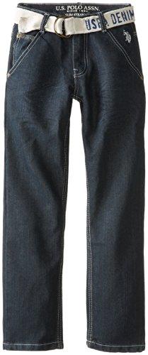 U.S. Polo Assn. Big Boys' 5 Pocket Belted Denim Jean, Dark Crinkle, 16