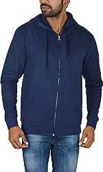 Le Beau Classics Men's Cotton Zipper Hoodies GR_009_ Navy Blue_L