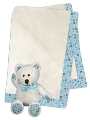 Plush White and Blue Baby Blanket and Bear Set