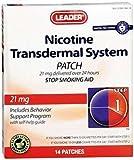 Leader Nicotine Transdermal System 21mg 14ct - (Compare to Nicoderm CQ)