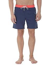 Zobello Mens Classic Solid Nylon Swim Shorts(41027C_Navy/Orange_X-Large)