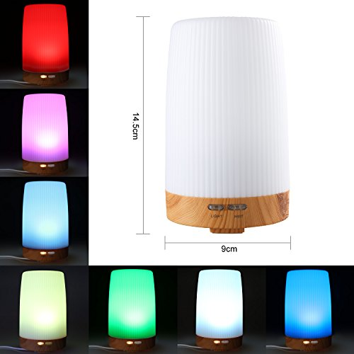 Essential Oil Diffuser, WinTech® Wood Grain Ultrasonic Aromatherapy Oil Diffuser Cool Mist Aroma Humidifier With Color LED Lights Changing for Home, Yoga, Office, Spa, Bedroom,Baby Room
