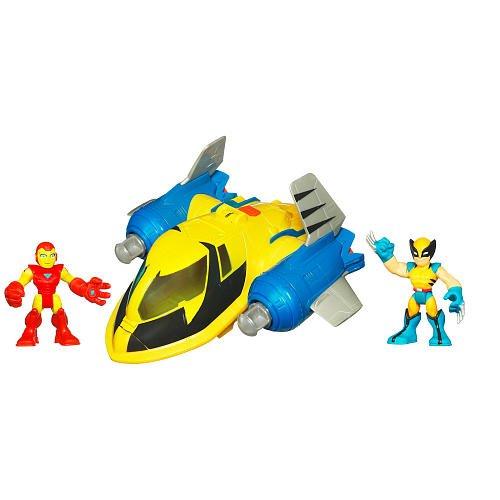 Playskool super hero squad deluxe vehicle iron man vs wolverine