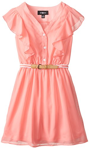 Amy Byer Big Girls' Flutter Front Dress  Belt,