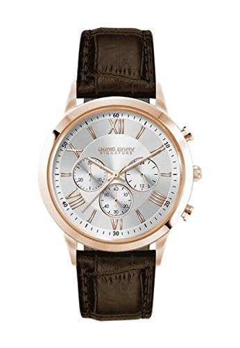 Jorg Gray Men's Quartz Watch with White Dial Chronograph Display and Brown Leather Strap JGS3580