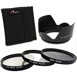 Azzuro® 3pcs Filtre UV CPL ND4 Incorporés + parasoleil 62mm pour Canon EOS 5D Mark 5D2 5D3 6D 7D 70D 60D 700D 650D 1100D 1000D 600D 50D 550D 500D 40D 30D 350D 400D 450D 30D 10D 100D Rebel XS XSi T5i T4i T3i T2i T1i T4 T3 Nikon D4 D3X D800 D700 D610 D600 D300S D300 D7100 D7000 D5200 D5100 D5000 D3200 D3100 D3000 D90 D80 D70 D60 D50 D40 Pentax Olympus Sony Pansonic etc / Tout appareil photo avec filetage d'objectif de 62mm LF283