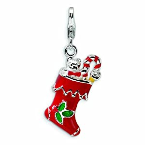 Sterling Silver 3-D Red Enameled Holiday Stocking with Lobster Clasp Charm