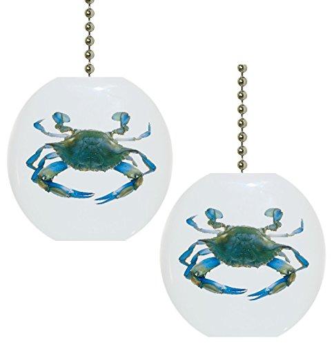 Set of 2 Blue Crab Nautical Solid CERAMIC Fan Pulls (Fan Pulls Decorative Nautical compare prices)