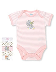 5 Pack Pure Cotton Tatty Teddy & Floral Print Bodysuits