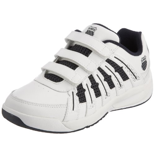 K-Swiss Youth Optim Omni Strap White/Navy/Silver Sports Tennis And Racquet Sports 52481-167-M 2.5 UK