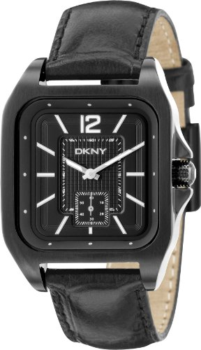 DKNY NY1440 Mens Black Dial and Leather Strap Watch
