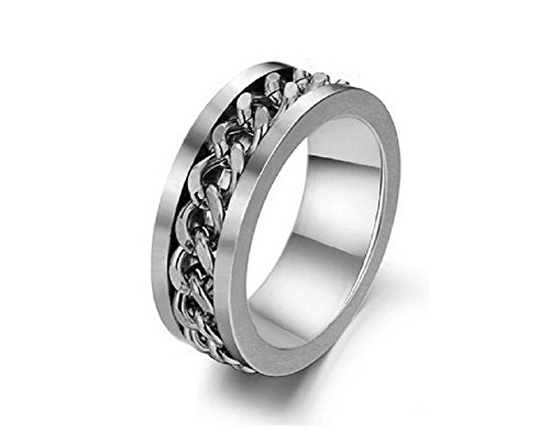 リング メンズ レディース 回転式 指輪 ホワイト シルバー 高品質 ステンレス チェーン (25)