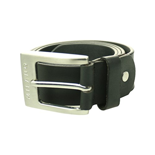 Milano-Mens-Full-Belt-Leather-Black-Brown-Tan-Silver-Square-Buckle-40mm