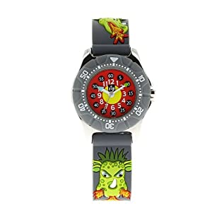 Baby Watch - 0605149 - Dragon - Montre Garçon - Montre pédagogique 6-9 ans - Cadran Rouge - Bracelet Autre Gris