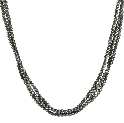 3-Row Faceted Hematite Bead Sterling Silver Clasp Necklace, 18