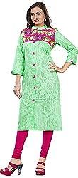 Twinkal Women's Pure Cotton Straight Fit Embellished Kurti / Kurta (Twkr00108, Green, S)