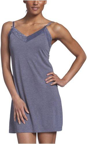 Intimo Women's Soft Knit Sleep Chemise with Lace, Denim Heather, Medium