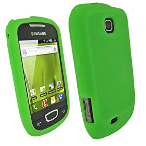 iGadgitz Green Silicone Skin Case Cover for Samsung Galaxy Mini S5570 Android Smartphone Mobile Phone + Screen Protector