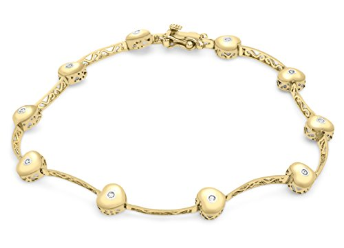 Carissima Gold 9 ct Yellow Gold 0.08 ct Diamond Heart and Bar Bracelet of 18 cm/7-inch