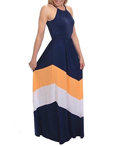 KKD Navy Striped Maxi Dress (Medium)