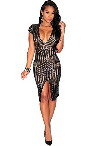 Kearia Women Short Sleeve Deep V-Neck Sequin Split Bodycon Cocktail Party Dress Black Large