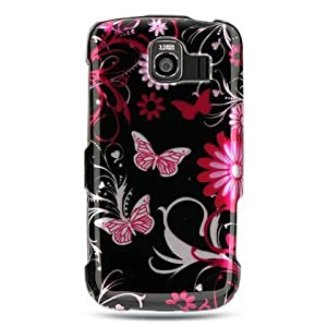 Pink Butterflies Black Protector Case for LG Optimus S LS670