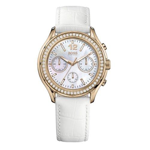 Hugo Boss 1502261 - Reloj analógico de cuarzo para mujer con correa de piel, color blanco