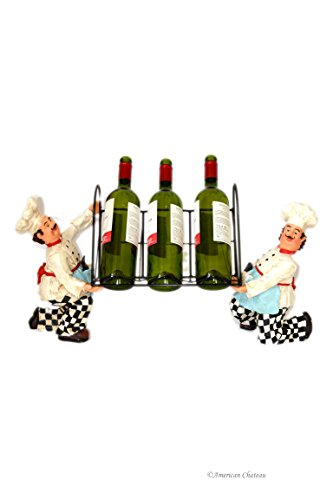 Fat French Chef Resin Statue Wine Bottle Display Rack Metal Stand Kitchen Decor (Chef Wine Rack compare prices)