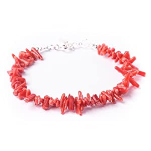 81stgeneration Neu Sterling Silber 925 echte rote Koralle Chip-Armband