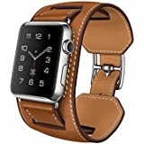 Apple Watch Cuff Band, Apple Watch Band Leather,genuine Leather Band Cuff Bracelet Leather Watchband With Adapter...