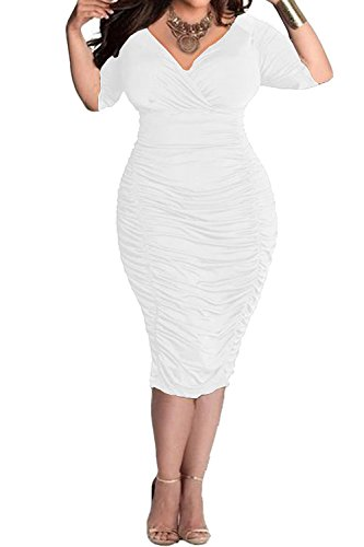 POSESHE Womens Plus Size Deep V Neck Wrap Ruched Waisted Bodycon Dress (L, White)
