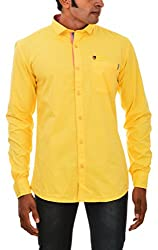 Indipulse Men's Casual Shirt (IF1150807B, Yellow, L)