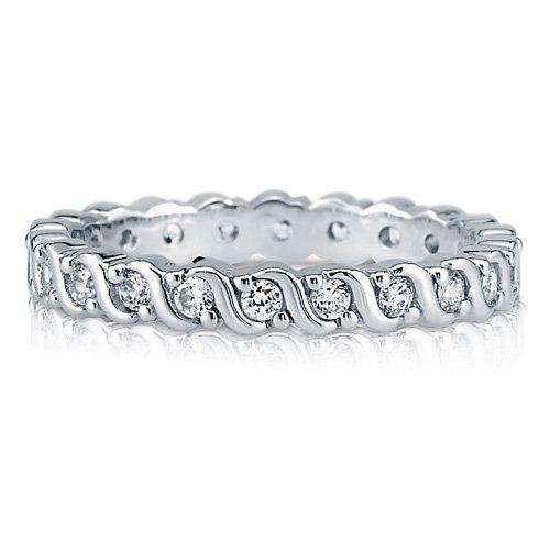 Round Cubic Zirconia 925 Sterling Silver Woven Eternity Ring Band 2mm - Nickel Free Engagement Wedding Band Ring Size 4