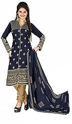 Khushali Presents Printed Crepe Dress Material (Navy Blue,Beige)