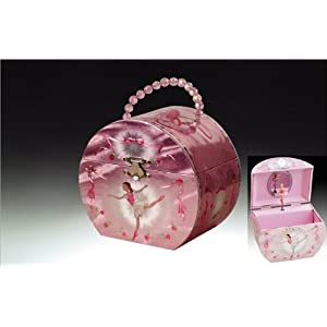 Ballerina Handbag Music Jewelry Box - Silver & Pink