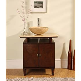 "29"" Bathroom Vanity Cabinet Travertine Vessel Sink"