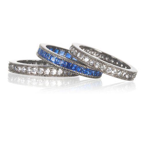 SYNTHETIC SAPPHIRE 3 ETERNITY BAND SET IN BP