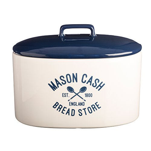 Mason Cash Varsity Ceramic Bread Crock, 6-Quarts, Cream, Navy Blue (Bread Crock compare prices)