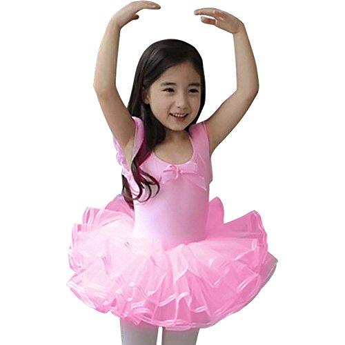 LITTLE SORREL Ragazza Balletto vestito da ballo ginnastica calzamaglia Tutu Body Rosa Bianco Principessa Mini Vestito
