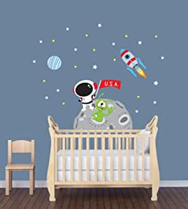 Amazon.com: Mini Moon Wall Decal with Astronaut for Baby ...