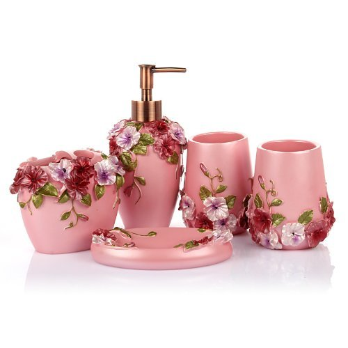 Lagute 5pcs Vintage Classic Luxury Bathroom Bath 3d Decor Accessories Collection Set For Hotel Home With Soap Dispenser Toothbrush Holder Toothbrush Cup