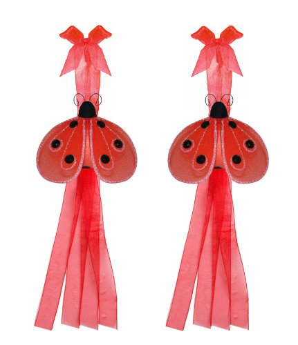 Ladybug Tiebacks Red Black Shimmer Nylon Ladybugs Tieback Pair / Set Decorations. Window Curtains Holder Drapery Holders Tie Backs To Decorate A Baby Nursery Bedroom, Girls Room Wall Decor, Wedding Birthday Party, Bridal Baby Shower, Bathroom, Curtain, La front-982382