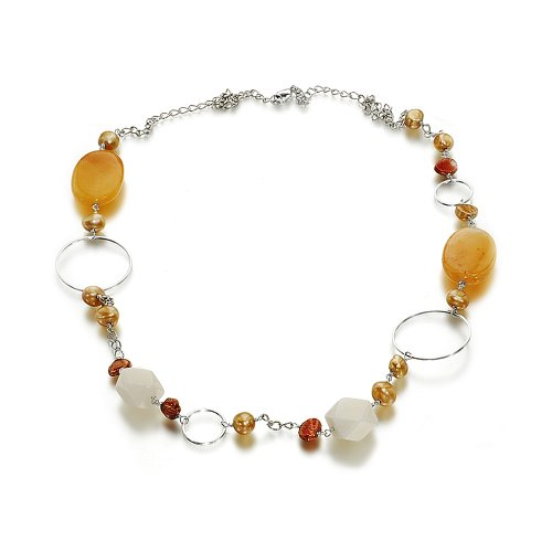 Orchira Ladies' Cultured pearl with yellow jade and rose quartz long fashion necklace