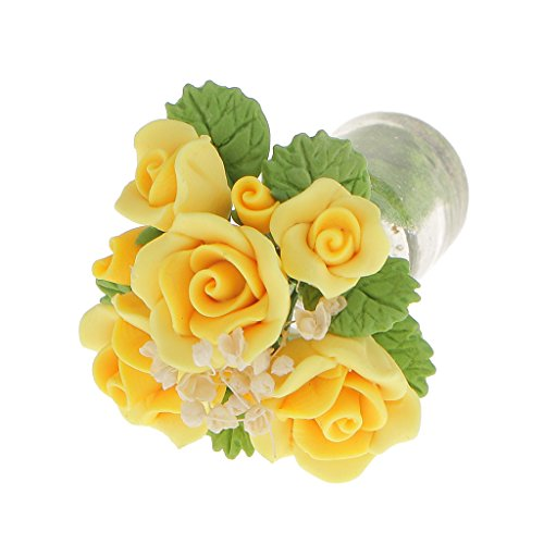 Miniature Jaune Fleur Vase En Verre Dollhouse Décor Maison Salle Accessoire