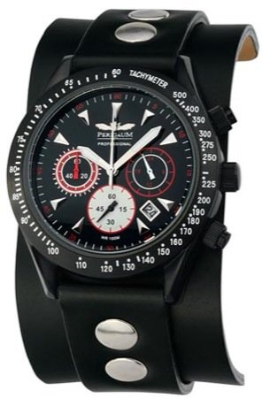 Perigaum Men's Professional Diver Chronograph with IP Plating Watch - Black Dial - P0701-BS
