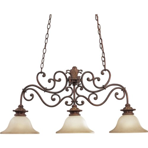 B0013CEWOY Progress Lighting P4533-75 3-Light Messina Linear Chandelier, Aged Mahogany