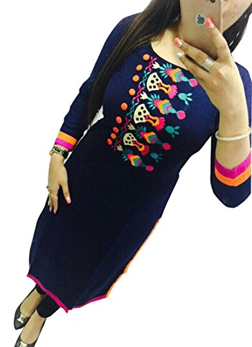 Maxthon Fashion Women Blue Cotton Embroidered Semi Stiched Kurtis (New Kurti Kurta 5098)