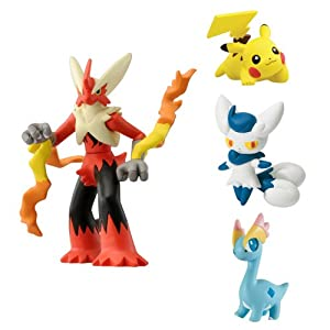 Pokemon Mega Evolution Blaziken, Meowstic, Pikachu, Amaura Action Figure (4 Figure Gift Pack)