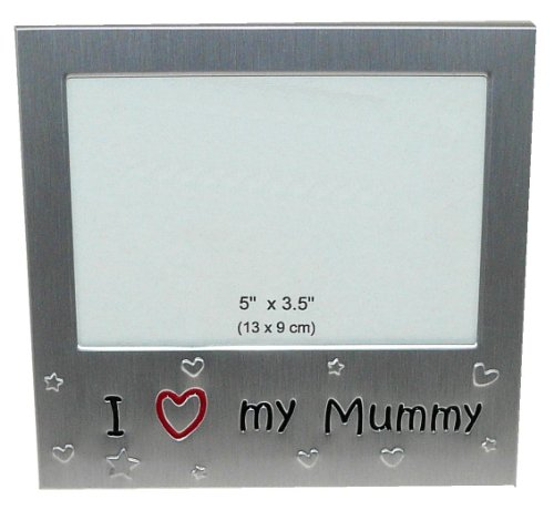 benerini® - I Love My Mummy - Photo Frame - Photo Size 5 x 3.5 Inches (13 x 9 cm) - Brushed Aluminium Satin Silver Colour
