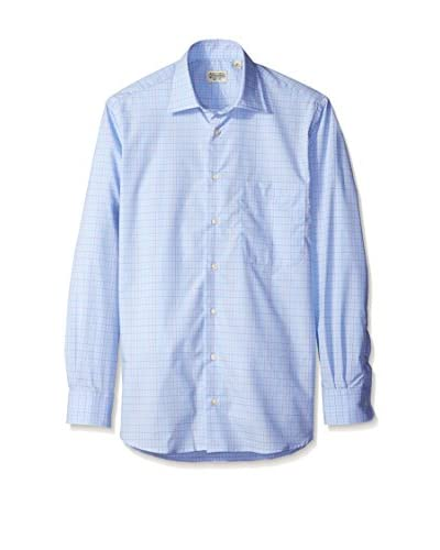 Gitman Blue Men's Mini Windowpane Spread Collar Sport Shirt